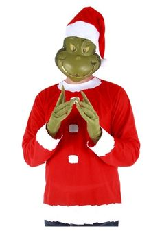 90b7100c6cb Adult Grinch Costume Top Hat and Half Mask Santa Costumes