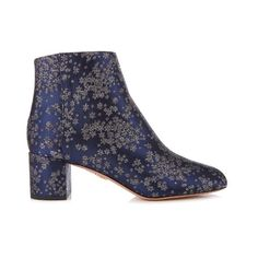 Aquazzura Brooklyn stardust-jacquard ankle boots (1280 TND) ❤ liked on Polyvore featuring shoes, boots, ankle booties, navy multi, short boots, navy boots, round toe booties, block heel boots and navy booties