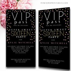 Sweet 16 Vip pass birthday invitation , vip birthday invitation, vip pass, custom sweet 16 birthdayYou can find Sweet 16 invitations . Birthday Party For Teens, 18th Birthday Party, Sweet 16 Birthday, Birthday Ideas, Birthday Bar, Teen Birthday Invitations, Sweet Sixteen Invitations, Party Invitations, Birthday Banners