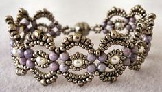Linda's Crafty Inspirations: Bracelet of the Day: Lovely Lace - Amethyst Luster & Pewter