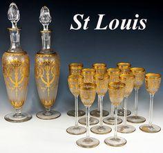 Superb Antique French Liqueur Set, St. Louis Crystal & Encrusted 18k Gold Enamel, 14 pc. for 12.