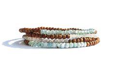 sandalwood bracelet stack / larimar labradorite moonstone Diy Jewelry Inspiration, Labradorite, Beaded Bracelets, Buttons, Etsy, Beautiful, Check, Shop, Stuff To Buy