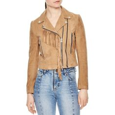 Sandro Rebel Fringe Trimmed Suede Jacket (505 AUD) ❤ liked on Polyvore featuring outerwear, jackets, beige, beige moto jacket, suede leather jacket, western fringe jacket, suede jacket and moto jackets