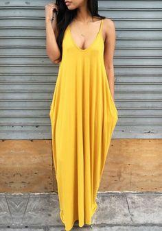 Yellow Plain Pockets Draped Backless Spaghetti Straps Deep V-neck Casual Maxi Dress