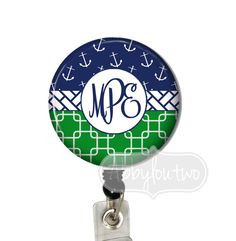 Anchor Trio Badge Reel #idtag #badgereel #idholder #abbyloutwo #name #badgeholder #stethoscopeidtag #stethoscope #initials #monogrammed #personalized