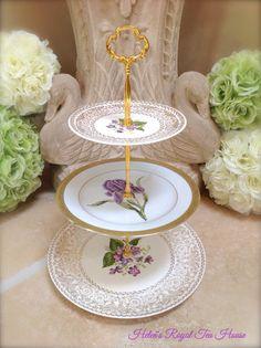 Three tier cake stand Purple Iris Cake Tier by HelensRoyalTeaHouse