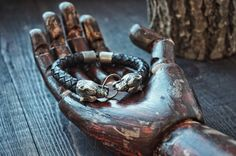 Bracelet: Northern Wolf 925 SIlver and Leather от Smirnovjeweller