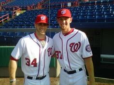 Anyhow, here are Stephen Strasburg and Bryce Harper in Viera, enjoying the bright sunshine and the clear skies and the wonders of modern dentistry and the limitless possibilities of their shared baseball futures