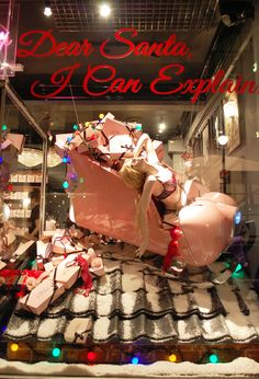 While Agent Provocateur's window is a cleaver use of mannequin and prop. Christmas Window Display, Christmas Love, Retail Windows, Store Windows, Store Window Displays, Christmas Wonderland, Santa Sleigh, Ad Art, Merchandising Displays