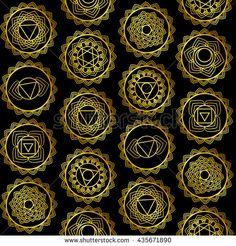 Mandala, seamless tribal pattern indian medallion, Yoga vector design. 7 chakra mandalas.