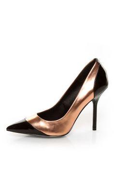 Kelsi Dagger Charley Black and Rose Gold Cap-Toe Pointed Pumps - $79.00 #lulusholiday