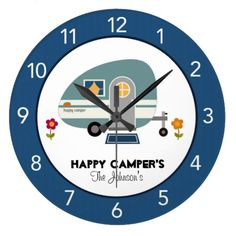 Happy Camper Blue Wall Clock