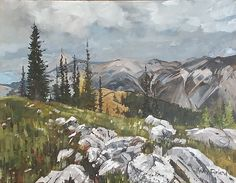 Christopher Gorey - Rocky Mountain Meadow near Banff- Watercolor - Painting entry - September 2016 Watercolor Paintings, Original Paintings, Original Art, Watercolors, Painting Competition, Online Painting, Rocky Mountains, New Art, Studio Design