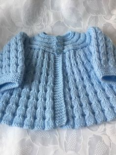 Hand Knitted Baby Boy's Matinee Cardigan will fit 0-3 mths £8.50