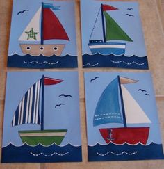 Set of 4 8x10 sail boat Row Your boat nautical Baby Boats art to match Pottery Barn kids quilts