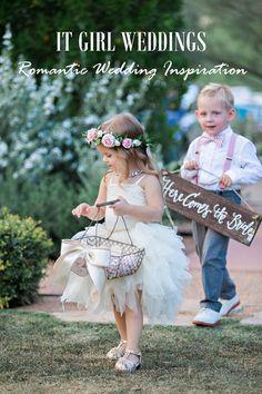 It Girl Weddings // Romantic Wedding, chevron pattern, flower halo, blush wedding, Valentino wedding shoe, here comes the bride sign, wedding arbor http://www.itgirlweddings.com/blog/romantic-wedding-inspiration