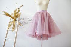 Mauve Hi Low Horsehair Tulle Skirt/Short Women Skirt/Adult TUTU Tulle Skirt/Wedding Bridal Bridesmaid Skirt/Knee Length