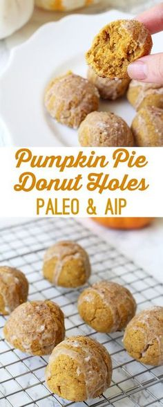 Pumpkin Pie Donut Holes (Paleo & AIP) - Unbound Wellness Autoimmune Wellness autoimmunepaleo AIP Treats Who doesn't love pumpkin pie at the holidays? It's one of those things that you just can't get any other time of year, and absolutely screams holi Paleo Dessert, Paleo Sweets, Dessert Recipes, Macaroons, Agave, Brunch, Cloud Bread, Cookies, Paleo Recipes