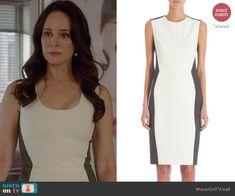Victoria's white dress with grey back on Revenge. Outfit Details: http://wornontv.net/41736/ #Revenge