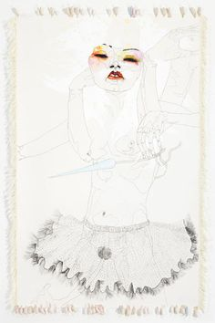 untitled drawing 2005 DEL KATHRYN BARTON synthetic polymer paint, gouache, watercolour, ink, cotton thread and silk on paper x cm Del Kathryn Barton, Studio Art, Cotton Thread, Art Studios, Gouache, Art Inspo, Art Sketches, Art Reference, Surrealism