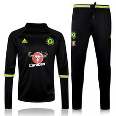 CHELSEA 16/17 BLACK TRAINING SUIT [Jacket and Pants] Kante Diego Costa Oscar Willian soccer uniforms