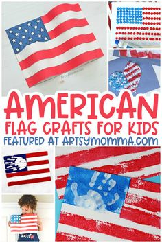 Make these awesome American Flag crafts for the 4th of July, Memorial Day, US History, and other patriotic themes! #4thofJulycrafts #kidscrafts #artsymommadotcom Craft Stick Crafts, Crafts For Kids, Paper Crafts, Patriotic Crafts, July Crafts, Independence Day Activities, American Flag Crafts, Lantern Craft, Cards For Friends
