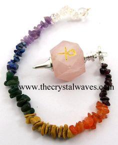 Rose Quartz Ankh Engraved Hexagonal Pendulum With Chakra Chips Chain