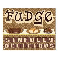 CANDY FUDGE sign gum suckers chocolates / STORE display / vintage RETRO kitchen wall decor art