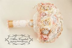 Brooch bouquet. Shabby Chic bouquet. vintage gold, peach, ivory, pink and lace. on Etsy, $45.58 CAD