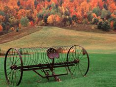 Photographic Print: Farm Scene, Vermont, USA Poster by Charles Sleicher : (old hay rake) Country Charm, Country Life, Country Living, Country Roads, Old Farm Equipment, Country Scenes, Farms Living, Down On The Farm, Vintage Farm
