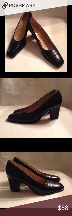 Salvatore Ferragamo Black Heels Dress Shoes Sz 8 This is a great pair of Salvatore Ferragamo heels. Measurements are:  length 10.25 inches; width across widest part is 3.25 inches; heel is 3 inches high; and overall height of shoe is 5.5 inches. Salvatore Ferragamo Shoes Heels