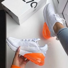 Nike Air Max 270 - White / Total Orange - shop your sneakers - Schuhe Nike Air Max, Style Air Max, Cute Sneakers, Sneakers Nike, Souliers Nike, Orange Shoes, Orange Sneakers, Orange Orange, Hype Shoes