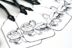 Black and White Swans Gift Tags wedding favor by ThePurpleTable