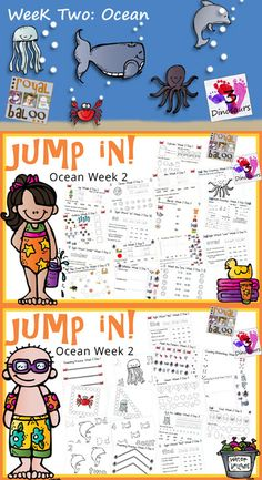 Jump In to Summer Learning Week 2 of 5 Ocean Themed Printables for Tot, PreK, Kinder and First. Covering Letters, Shapes, Numbers Math & Reading. 3Dinosaurs.com & RoyalBaloo.com