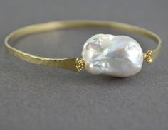 Pearl Bracelet Baroque Pearl Bracelet Hammered Gold Bangle Bracelet Organic Jewelry Large Freshwater Pearl OOAK on Etsy, $75.00
