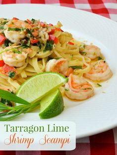 Tarragon Lime Shrimp Scampi - this delicious quick and easy recipe will have dinner on the table in 20 minutes or less. A go-to recipe for even your busiest day.