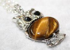Semi Precious Gemstone Tigers Eye Owl by PoppyKittenDesigns