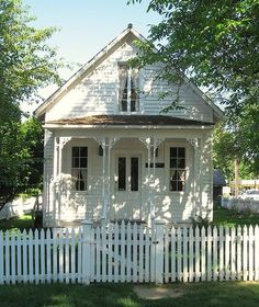 Cottages & Country Houses | A perfect little white cottage with porch and picket fence