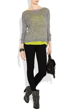 Ankle booties with leggings and a bold sweater