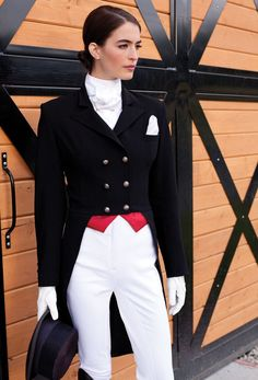 Love the interchangeable points on this shadbelly!    Asmar Tail Coat  One jacket, four incredible styles. Comes with four interchangeable tips in plum, pewter, deep red and golden/yellow. Elegant details such as welt pockets, Asmar Equestrian buttons, and weighted tails for a pristine fit in the saddle. Stunningly tailored fit.