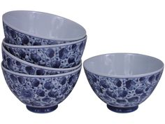 Classic Blue and White Gingko Leaves Motif Japanese Porcelain Rice Bowl Set for Five