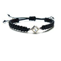 Flechtarmbänder - Unikat Topas ♥ 925 Silber Makramee Armband Schwarz - ein Designerstück von _Andressa_ bei DaWanda