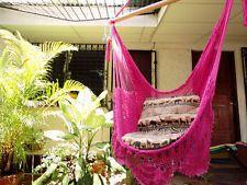 Fuschia Sitting Hammock w/ Fringe Hanging Chair Cotton Wood Hand Woven Nicaragua