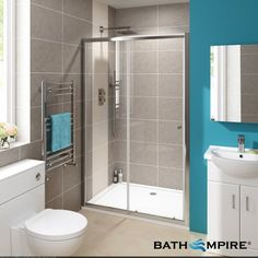 1100mm - 4mm Glass - Sliding Door Alcove Shower Enclosure - BathEmpire