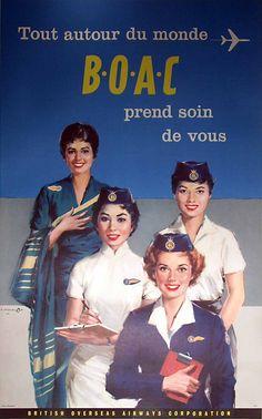 Vintage Airline Poster / Tout autour du monde - BOAC - prend soin de vous / 1959