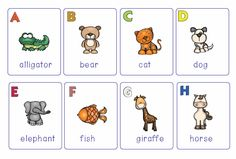 This is a set of very cute A-Z flash cards. Each card presents a letter and a colorful animal picture representing that letter.There are 26 flash cards in the set. 2$