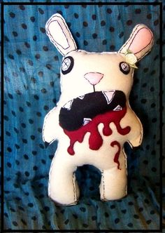 Zombie Rabbit Plush Monster Bunny by poopheads on Etsy, $19.00