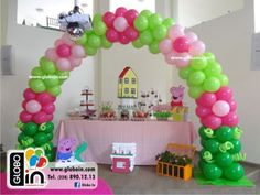 Peppa Pig Balloons, Anniversaire Hello Kitty, Pig Party, Balloon Decorations Party, Ideas Para Fiestas, Balloon Arch, Party Time, Lily, Baby Shower