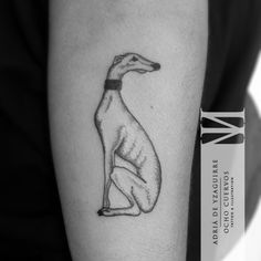 A tiny greyhound by Adria Yzaguirre. dotwork for shading