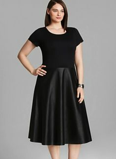 Lafayette 148 Plus Size Black Techno Dress